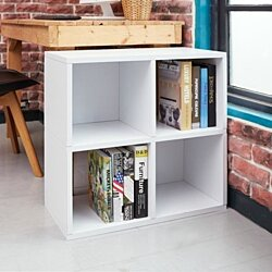 "Way Basics 24.8""H Quad Cubby Bookcase, Stackable Organizer, Modern Eco Storage Shelf, White - Lifetime Guarantee"