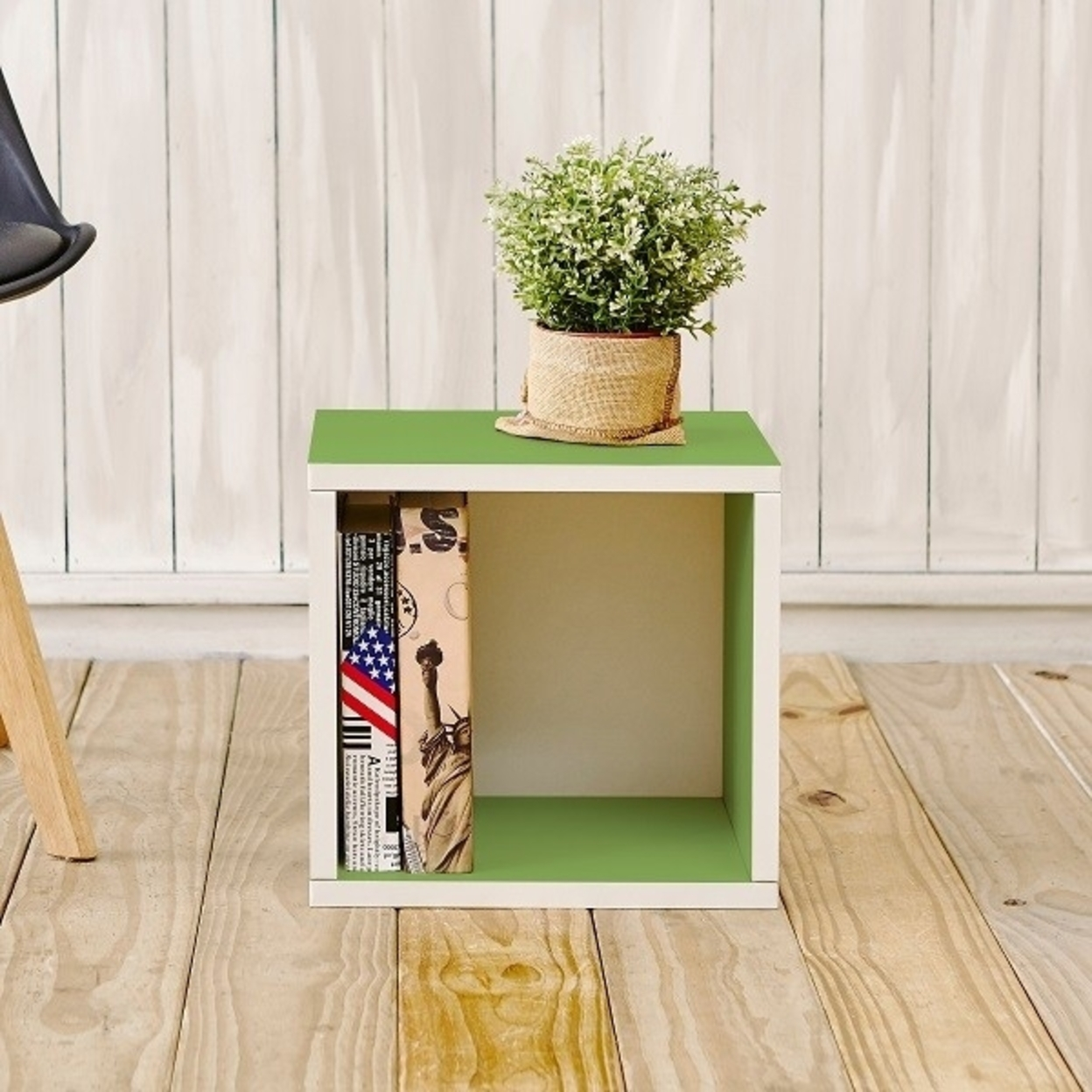 Eco Stackable Storage Cube And Cubby Organizer, Green Tool Free Assembly Lifetime Warranty