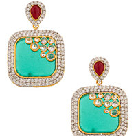 PAIR OF DANGLERS WITH CZ & SYNTHETIC GREEN GEOMETRIC DROP