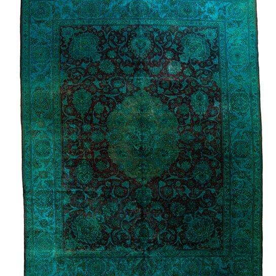 Buy 10x12 Overdyed Persian Tabriz Medallion Deep Wine Teal