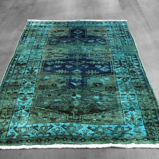 Buy 5x7 Overdyed Northwest Persian Geometric Military Green Teal Blue Rug  Woh 1362 By West Of Hudson Rugs On OpenSky