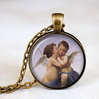 Beautiful Cherub, Baby Religious Pendant Necklace, Holy Spiritual  Jewelry Pendant