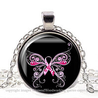 Beautiful Pink Ribbon, Breast Cancer Awareness Silver Jewelry Pendant Necklace