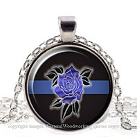 Police Office Commemorative, Blue Line Rose, Thin Blue Line, Crest Silver Pendant Necklace