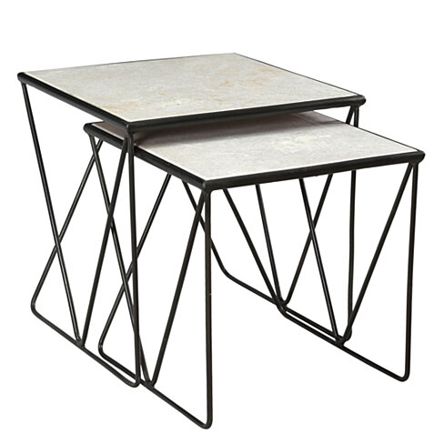 Aja Marble and Iron Nesting Table (Set of 2)