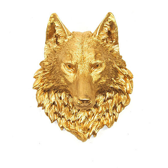 buy the dexter gold wolf head by white faux taxidermy on opensky. Black Bedroom Furniture Sets. Home Design Ideas
