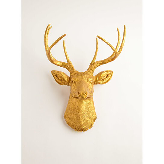buy the franklin gold resin deer head by white faux taxidermy on opensky. Black Bedroom Furniture Sets. Home Design Ideas