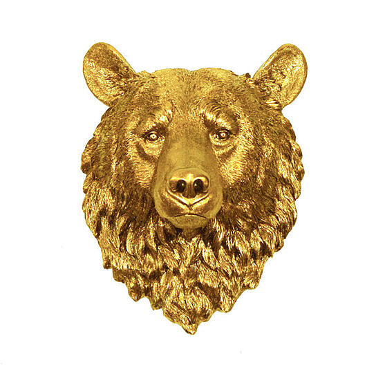 buy the honey gold bear head by white faux taxidermy on opensky. Black Bedroom Furniture Sets. Home Design Ideas