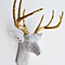 The Winston | White Deer Head w/ Gold Glitter Antlers