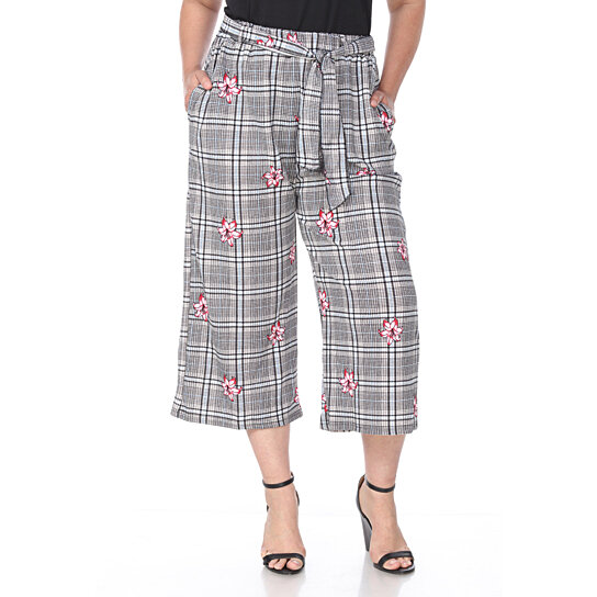 Buy Plus Size Gaucho Pants - Red Flower by White Mark on OpenSky