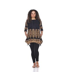 Plus Size Lucy Tunic Top - Black & Brown