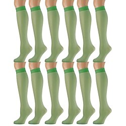 12 Pairs of excell Sheer Trouser Socks for Women, Ladies Opaque Knee High Dress Socks