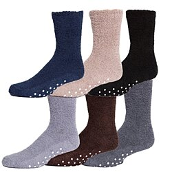 Mens Gripper Bottom Warm And Comfortable Fuzzy Socks, 6 Pack By excell