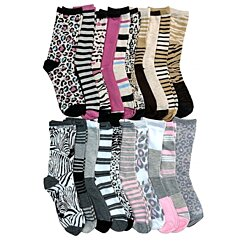 WSD Womens Value Pack Printed Crew Socks Many Colors, Soft Touch Fun Prints