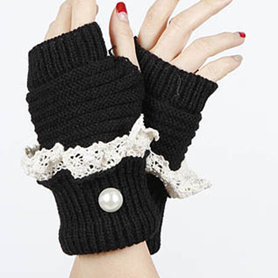 Knitting Pattern For Fold Over Mittens : Buy One Size 100% Acrylic One Pair Gloves Knitted Pearl ...