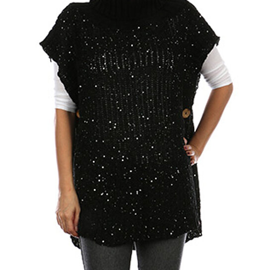 Knitting Pattern Side Button Poncho : Buy Sequin Turtleneck Poncho Side Buttons Knitted 30 Inch ...