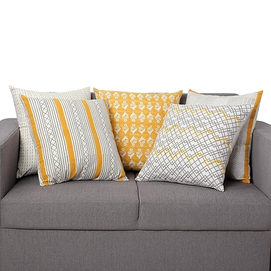 Admirable 18 X 18 Hand Block Printed Cotton Pillow With Geometric Details Set Of 5 Multicolor Uwap Interior Chair Design Uwaporg