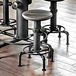 Foskey Industrial Counter Hydrant Chair Set Of 2, Antique Black