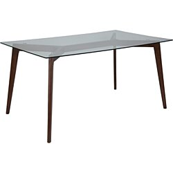 35.25x59 Walnut Glass Table