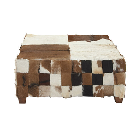 "37793 Wood Hide Large Square Ottoman 39""W 18""H"