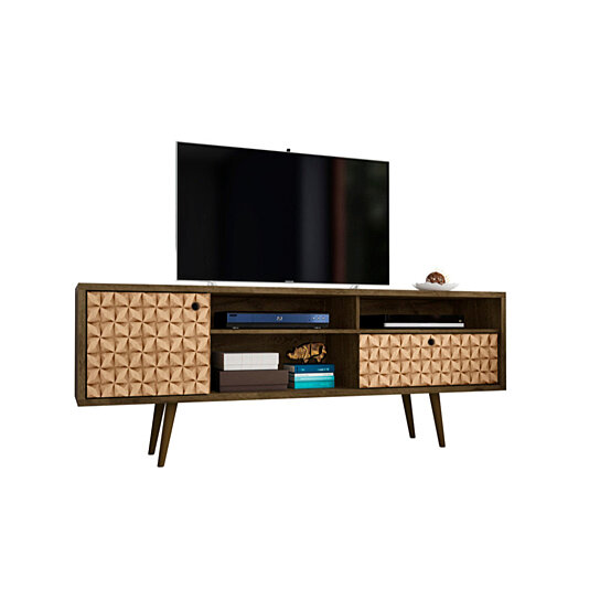 Buy 7086 Mid Century Modern Tv Stand With 4 Shelving Spaces And