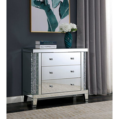 Acrylic Three Drawer Side Table with Mirror Panels and Double Diamond Shape Knobs, Silver