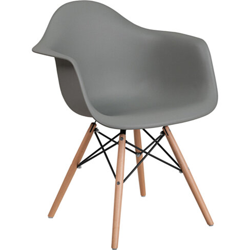 Alonza Series Gray Plastic Chair with Wood Base