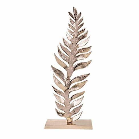 Aluminum Palm Leaf Sculpture On Rectangular Base, Large, Gold