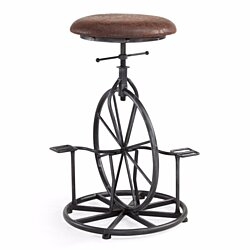 Armen Living Harlem Adjustable Industrial Metal Bicycle Barstool