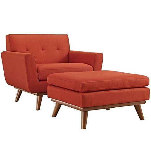 Atomic Red Engage 2 Piece Armchair and Ottoman