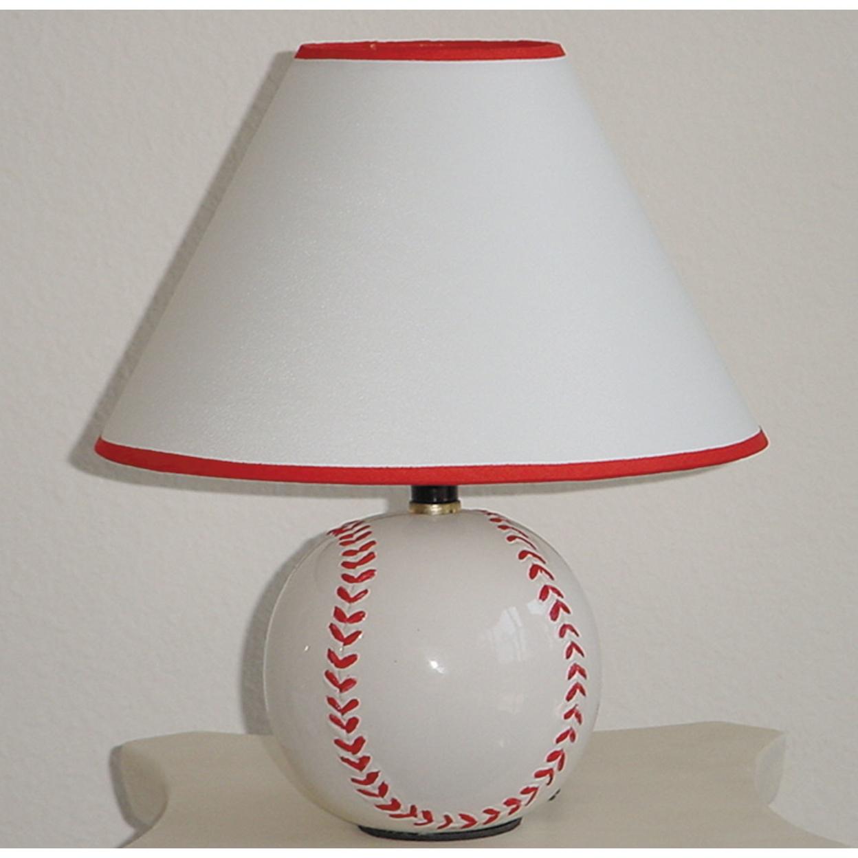 Baseball Inspired Ceramic Table Lamp, Red & White Set of 8 5a09d3e3e22461328209c65a