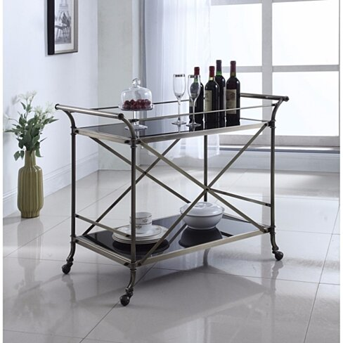 Beautiful Metal And Glass Serving Cart, Bronze