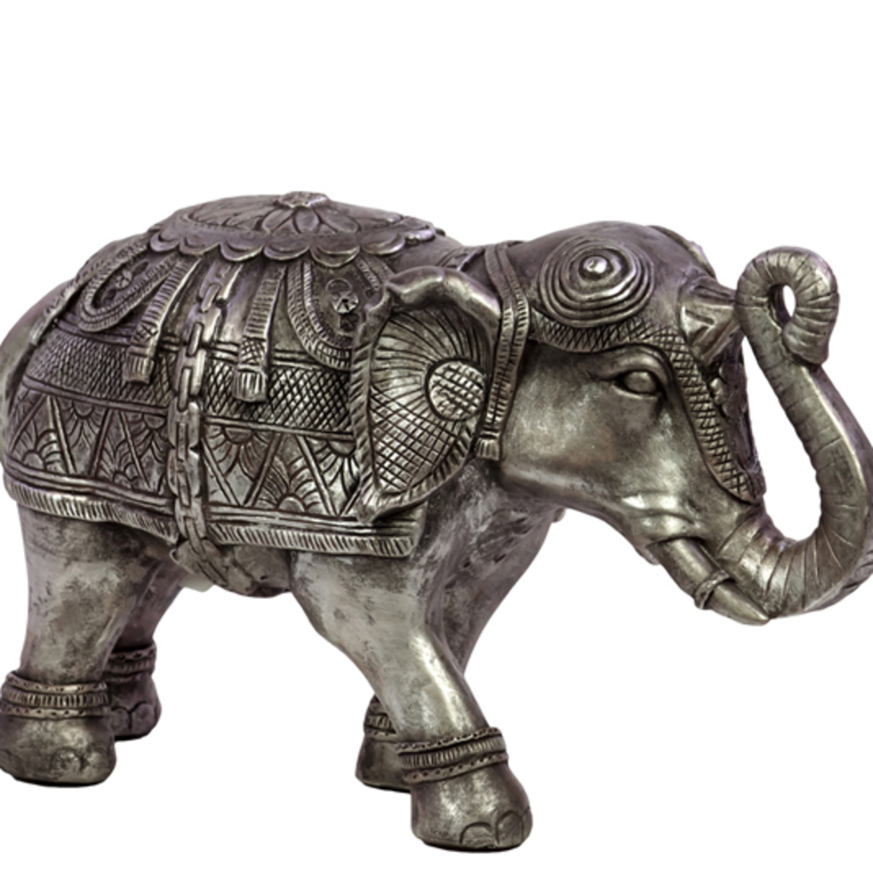 Beautifully Decorated Resin Elephant Figurine in Silver Small 58995208c98fc433fa23267c