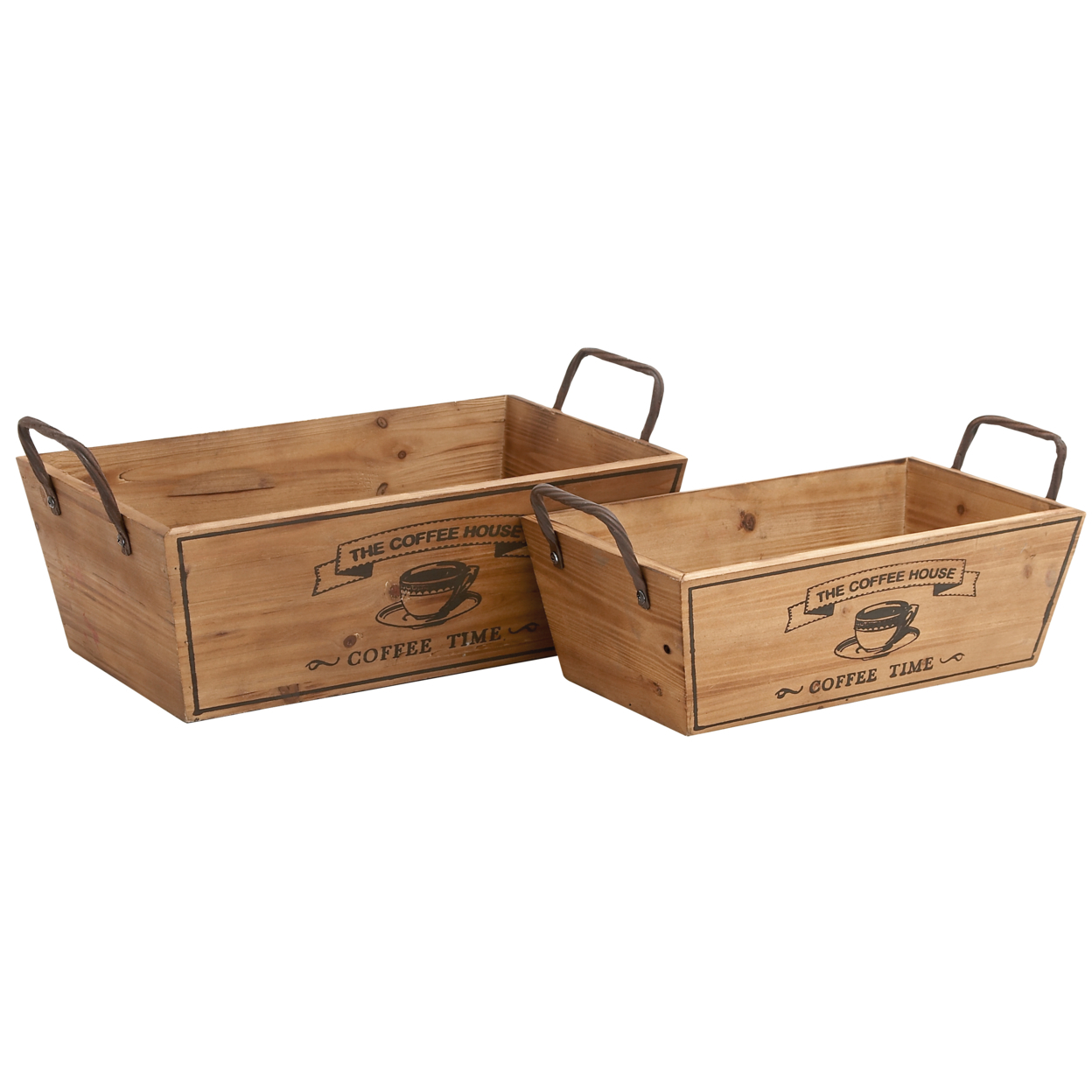 Benzara Set of Two Classy Wooden with Metal Handle Wine Trays 58995326c98fc433fa234f38