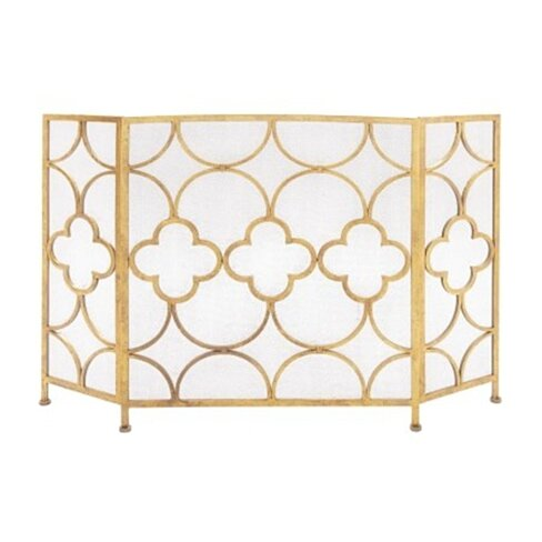 Space Efficient 3 Panel Metal Fireplace Screen, Gold