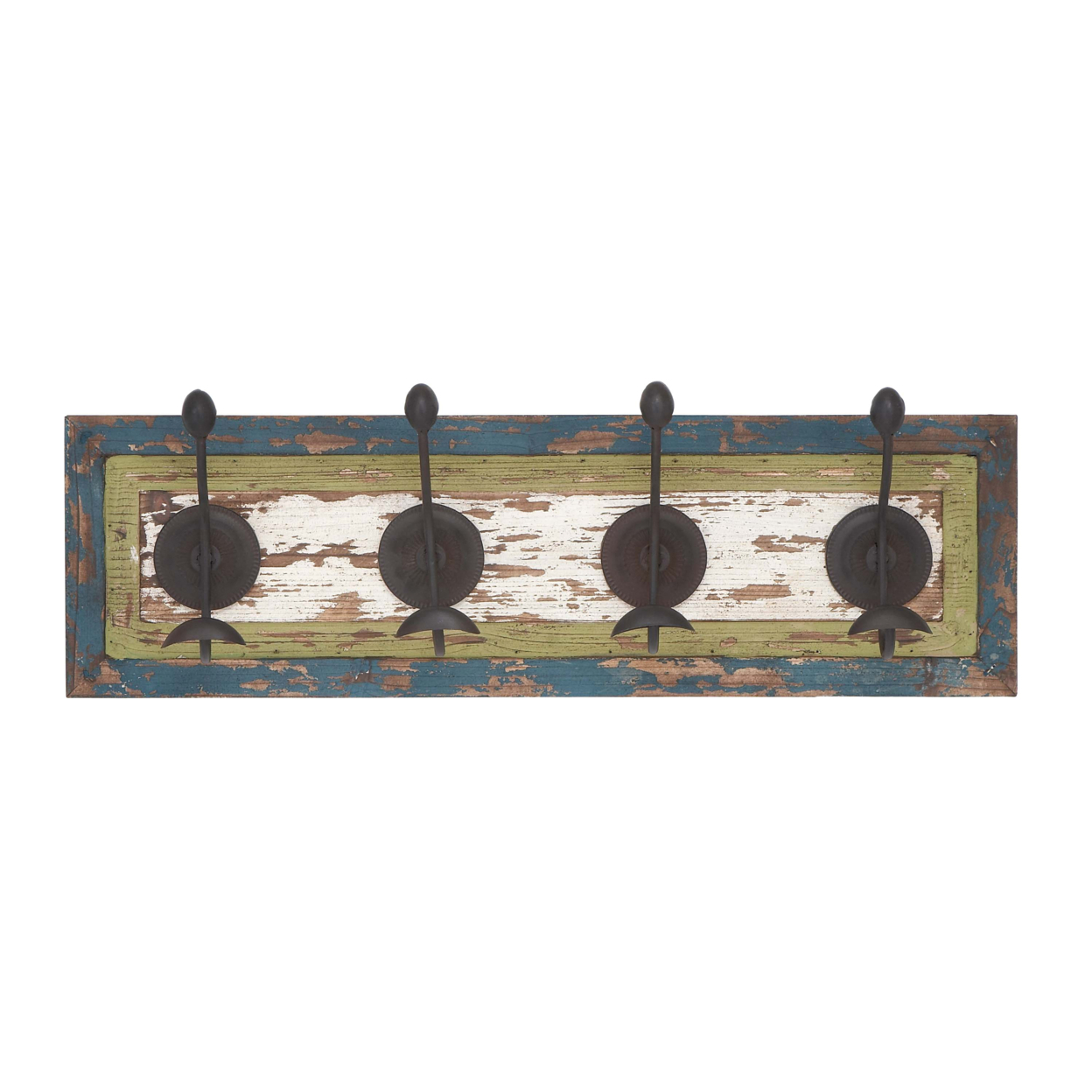 Wall Hook In Rectangular Shaped & White Wooden Board