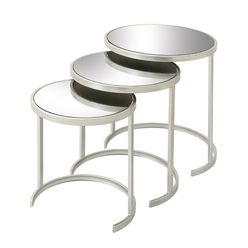 Benzara Well-designed Metal Mirror Act Table Set Of 3