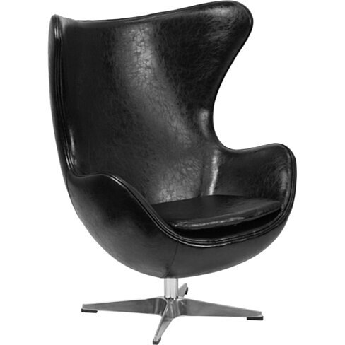 Black Leather Egg Chair Black