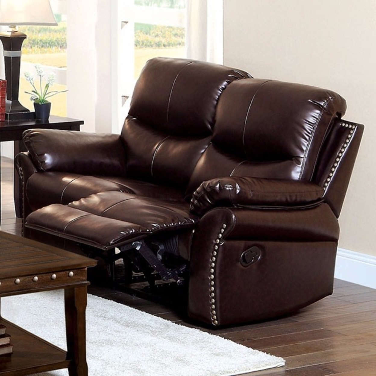 Bonded Leather Love Seat with 2 Recliners, Brown 5a7ad203e22461453f640b6b