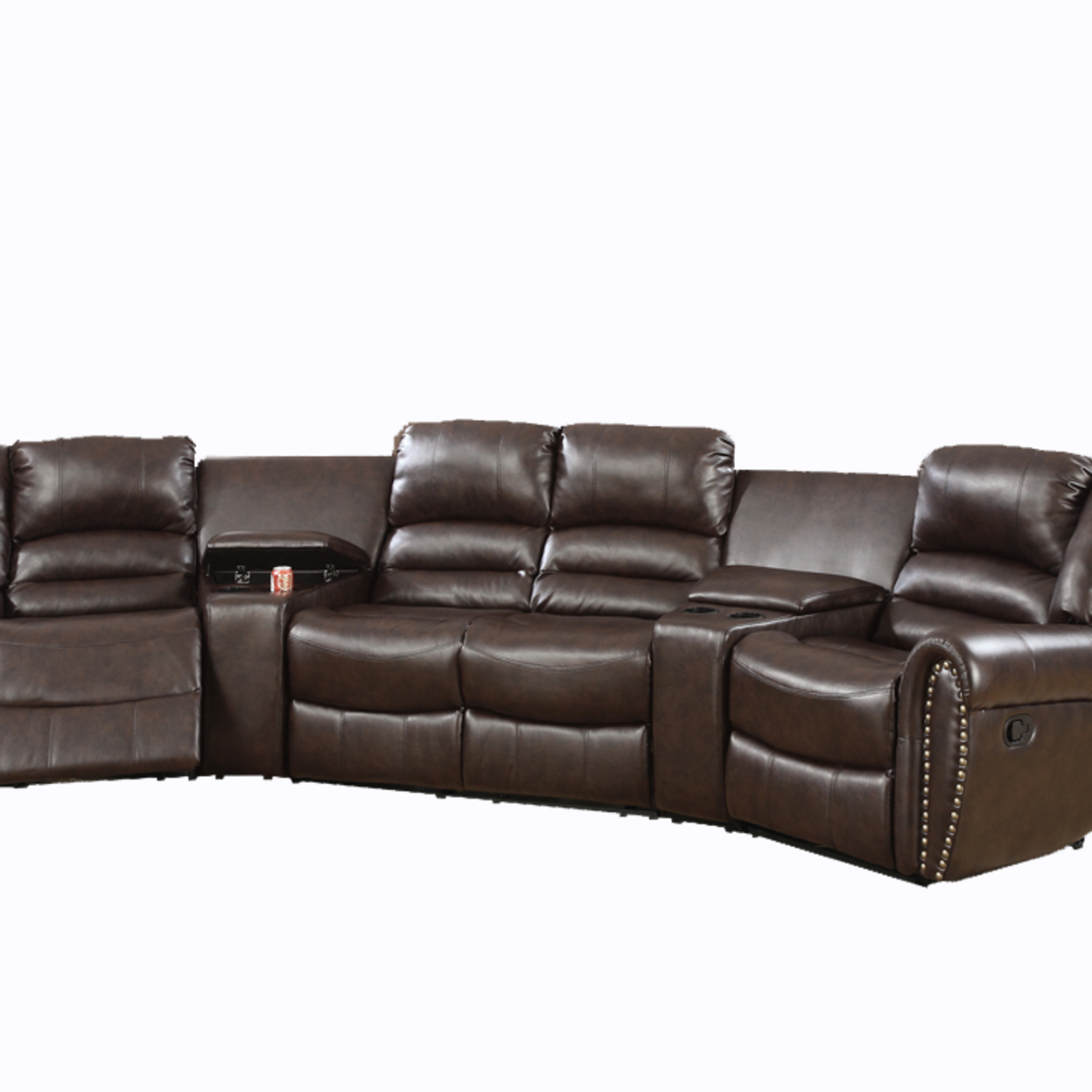Bonded Leather Motional Home Theater 5 Piece Sectional Brown 5a7497a9e22461371f2b9ba2