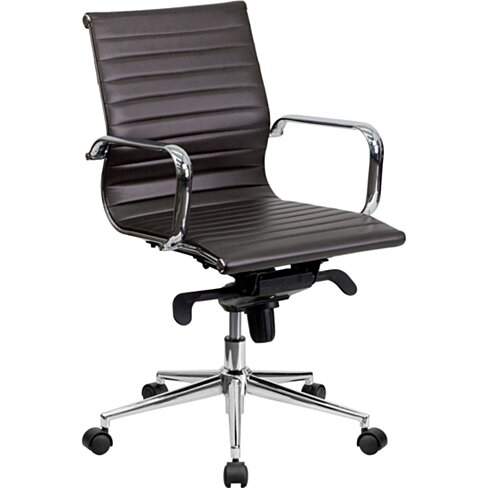 Bonded Leather Office Chair Brown