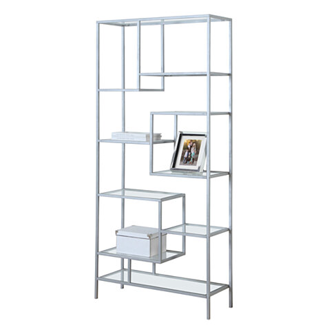 "BOOKCASE - 72""H, SILVER METAL WITH TEMPERED GLASS"
