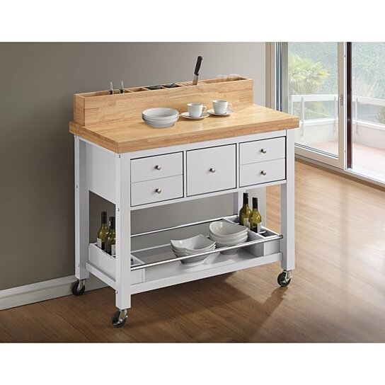 Capacious Kitchen Island with Casters, White