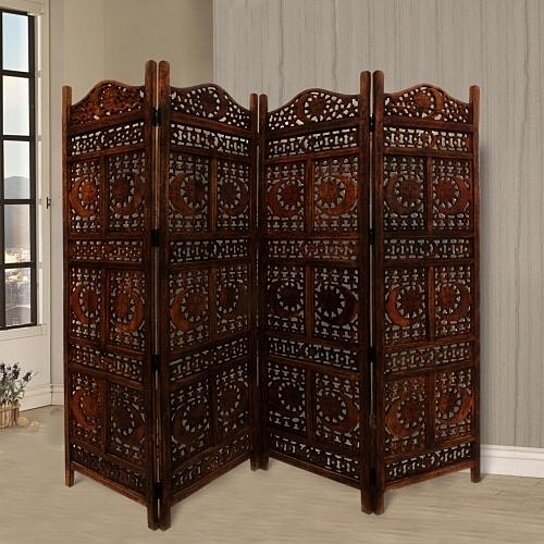 Hand Carved Sun And Moon Design Foldable 4 Panel Wooden Room Divider Brown