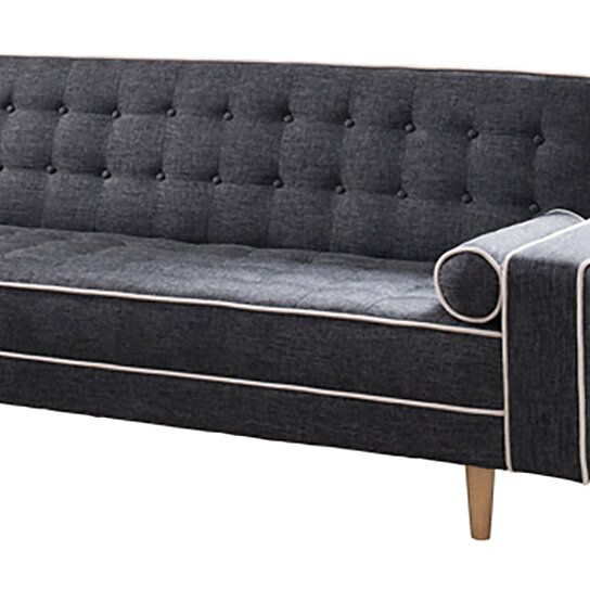 Castiel Futon Sofa Bed With Matching Bolsters Gray By Benzara Inc On Dot Bo