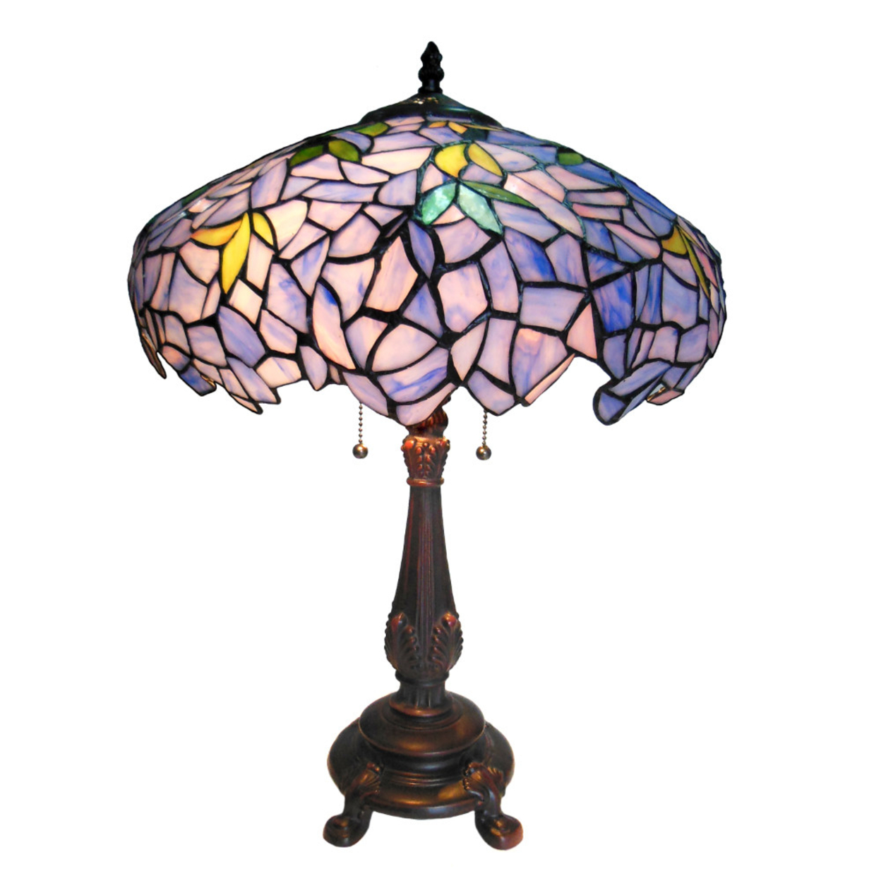 "Ch16828pw16-tl2 Chloe Lighting Tiffany-style 2 Light Wisteria Table Lamp 16"" Shade"