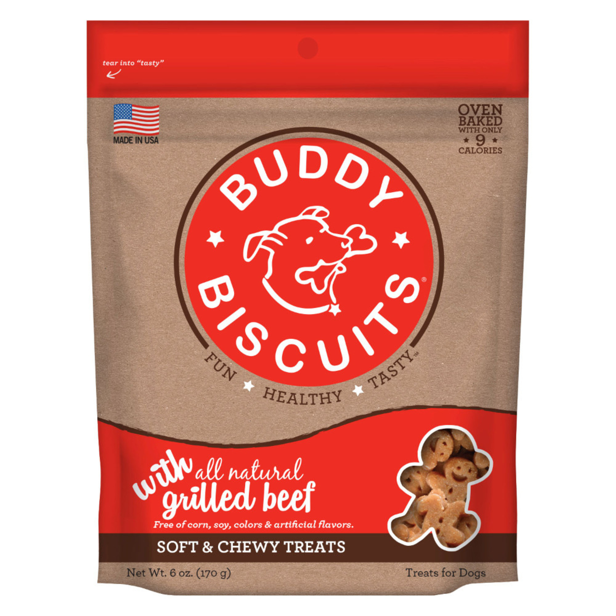 Cloud Star Soft & Chewy Buddy Biscuits Dog Treats, Grilled Beef, (Pack of 4) 59d009af2a00e46d613d183a