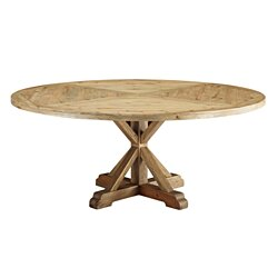 "Column 71"" Round Pine Wood Dining Table (3496-BRN)"