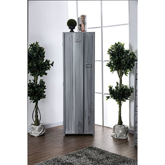 Buy Saltoro Sherpi Contemporary Metal Locker Inspired Armoire With Two Shelves And Metal Pulls Silver By Benzara Inc On Dot Bo