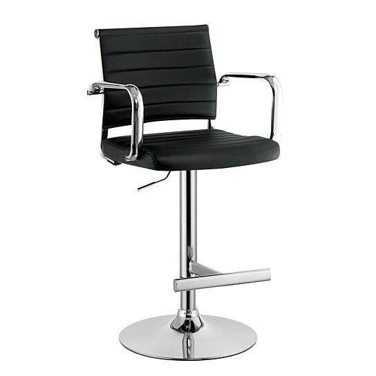Black Silver Contemporary Style Leatherette Padded Bar Stool with Arms